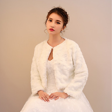 Faux Fur / Lace Wedding / Party / Evening Women's Wrap With Printing / Ruching Shrugs