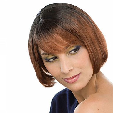 Synthetic Wig Straight Bob Haircut Synthetic Hair Ombre ...