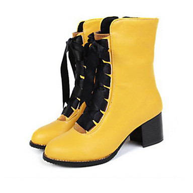Women's Block Heel Boots PU(Polyurethane) Spring / Summer Comfort / Novelty / Fashion Boots Boots Flat Heel Round Toe Booties / Ankle Boots Lace-up Black / Yellow / Red