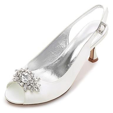 billige Toppsalg-Dame bryllup sko Liten hæl / Konisk hæl / Lav hæl Rund Tå / Titte Tå Rhinsten / Krystall / Gummi Sateng Komfort / Basispumps Vår / Sommer Blå / Lysebrun / Krystall / Bryllup / Fest / aften