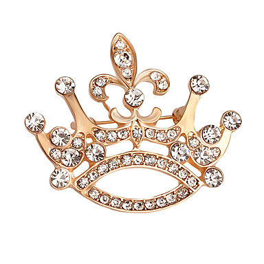 Women's Crystal Brooches - Gold Plated Crown Fashion, Elegant Brooch Gold For Daily / Evening Party