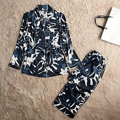 abordables Lencería de Mujer-Mujer Satén Cuello Camisero Pijamas Floral
