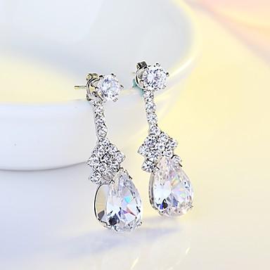 Women's AAA Cubic Zirconia Drop Earrings - Cubic Zirconia, Silver Drop Classic, Elegant Silver For Wedding / Evening Party