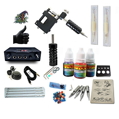 BaseKey Tattoo Machine Starter Kit - 1 pcs Tattoo Machines with 1 x 5 ml tattoo inks, Professional LCD power supply Case Not Included 1 rotary machine liner & shader