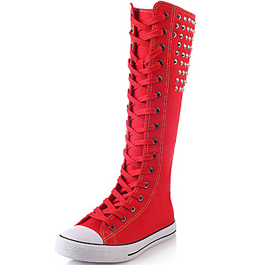 Women's Shoes Canvas Fall / Winter Fashion Boots Boots Creepers Knee High Boots Rivet White / Black / Red / Party & Evening