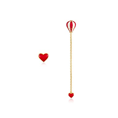 Women's Tassel / Mismatched Drop Earrings - Heart, Hot Air Balloon Classic Red For Ceremony / Casual