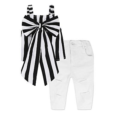 Toddler Dívčí Základní S proužky Mašle Bez rukávů Standardní Standardní Bavlna Sady oblečení Černá