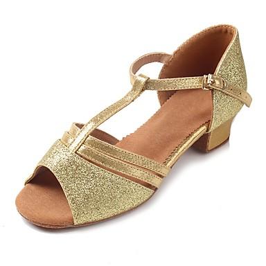 Latin Shoes Sparkling Glitter / Glitter / Leatherette Sandal / Heel Sequin / Sparkling Glitter / Buckle Chunky Heel Customizable Dance Shoes Gold