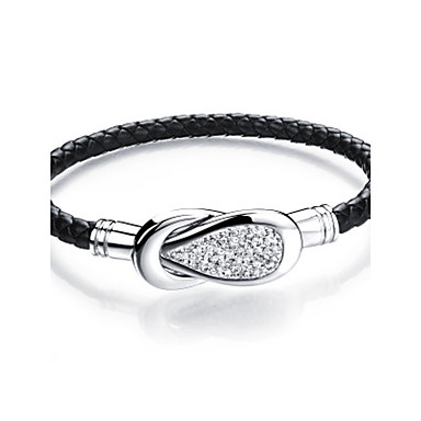Men's Cubic Zirconia Bracelet Bangles / Cuff Bracelet - Cubic Zirconia, Leather Luxury, Fashion Bracelet Silver For Daily / Casual
