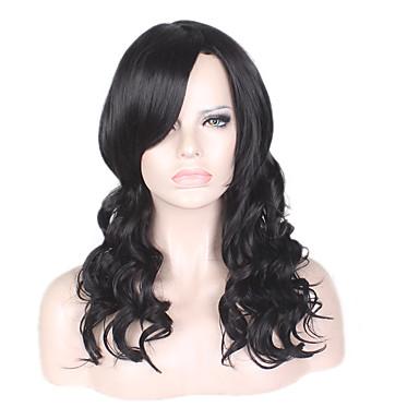 Szintetikus parókák Göndör / afro / Mély hullám Réteges frizura Szintetikus haj Természetes hajszálvonal / Afro-amerikai paróka Fekete Paróka Női Közepes / Hosszú Sapka nélküli