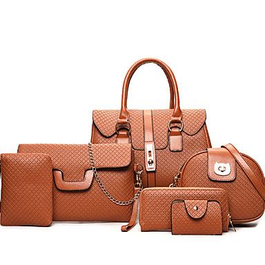 hesapli Çantalar-Kadın's Fermuar Çanta Setleri Çanta Setleri PU Siyah / Gri / Kahverengi