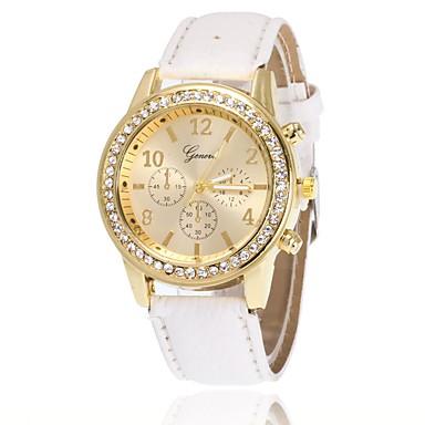 baratos Relógios Senhora-Mulheres Relógio de Pulso Simulado Diamante Relógio Relógio de diamante Quartzo Couro PU Acolchoado Preta / Branco / Azul imitação de diamante Analógico senhoras Amuleto Casual Elegante Relógio