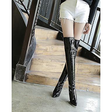 06313309 Blanc Rouge Femme Chaussures Verni Automne Cuir Fermeture Hiver Confort Bout Bottes Noir pointu BOqRSxBgw