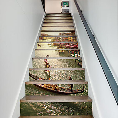 13Pcs/Set DIY 3D Stairway Stickers Grand Canal for House Stairs Decoration Large Staircase Wall Sticker Building Boat Decals Home Decor 18*100*13cm