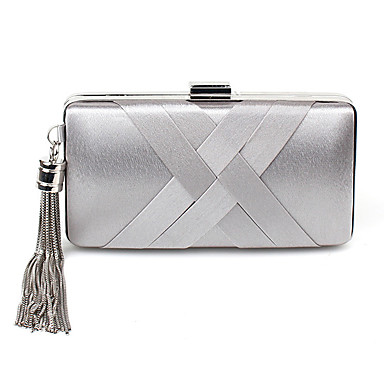 Women's Bags Polyester Evening Bag Split Front Black / Silver / Beige
