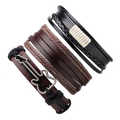 abordables Bracelet-Bracelets Plusieurs Tours Bracelets en cuir Homme Femme Corde Torsadé tissé Cuir Musique Guitare Bracelet Bijoux Café Rond pour Cadeau Sortie