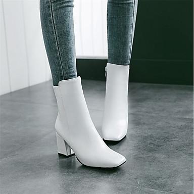 abordables Meilleures Ventes-Femme Bottes Bout carré Fermeture Similicuir Bottes Mi-mollet Bottes à la Mode Hiver Blanc / Noir / Rouge / EU41