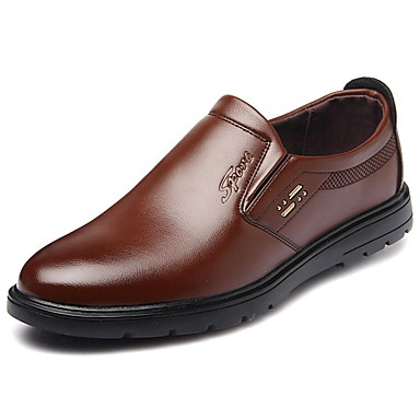 Men's Faux Leather Fall / PU(Polyurethane) Spring / Fall Leather Comfort Loafers & Slip-Ons Black / Yellow / Brown aba549