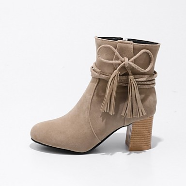 Women's Shoes Nubuck leather Winter Fashion Boots Boots Round Toe Booties/Ankle Boots Lace-up for Casual Dress Black Beige Yellow