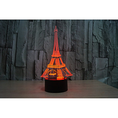 1set 3D éjszakai fény USB / AkkumulátorBattery Dekoratív / Színváltós Művészi / LED / Modern / kortárs