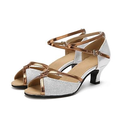 בגדי ריקוד נשים נעליים לטיניות נצנצים / טול / עוד עור חיות סנדלים / עקבים Paillette עקב מותאם מותאם אישית נעלי ריקוד כסף