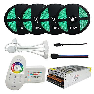 billige LED Strip Lamper-1set 20m 4x5m rgb led strip 5050 vanntett 1200led 20a transformator lys fleksibel tape fjernkontroll strøm