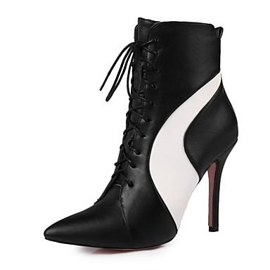 Bottes 06373043 Hiver Nouveauté Femme mollet Matières Chaussures Mi Bout pointu Automne Bottes Confort Similicuir Blanc Personnalisées Noir nxx0aPXU