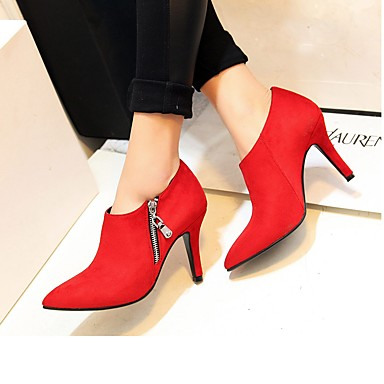 Soirée à Noir Chaussures Similicuir Fermeture Hiver Automne Bottine 06315403 Evénement Demi Femme Talons Confort Chaussures pointu Bout Botte Rouge amp; qaFnw4