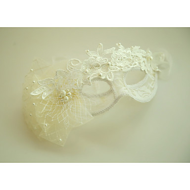 Tulle Imitation Pearl Lace Flowers Masks with Feather 1 Special Occasion Halloween Event/Party Headpiece