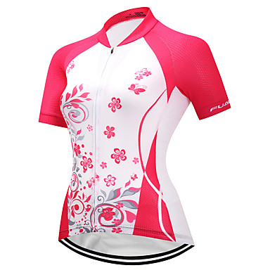 FUALRNY® Women's Short Sleeve Cycling Jersey Red and White Bike Jersey Quick Dry Reflective Strips Sports Coolmax® Lycra Clothing Apparel / High Elasticity