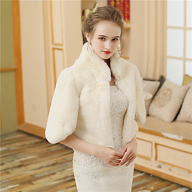 Faux Fur Wedding / Party / Evening Women's Wrap With Buttons / Fur Coats / Jackets