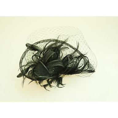 Tulle Flax Feather Fascinators Hats with Feather 1 Wedding Special Occasion Event/Party Headpiece