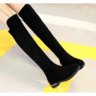 Women's Shoes Flocking Fall / Winter Fashion Boots Boots Over The Knee Boots Black