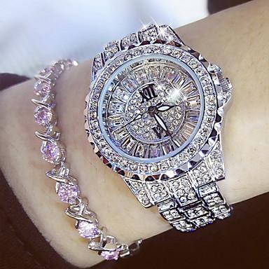 hesapli Kadın Saatleri-Kadın's Bayan Lüks Kol Saatleri Elmas izle Japonca Quartz Paslanmaz Çelik Gümüş / Altın Rengi 30 m Gündelik Saatler Analog İhtişam Moda Bling Bling - Altın Gümüş