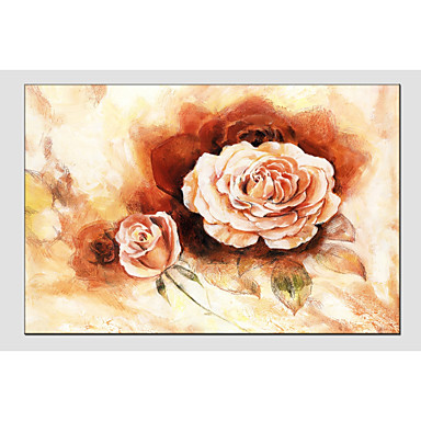 Oil Painting Hand Painted - Floral / Botanical Classic Canvas