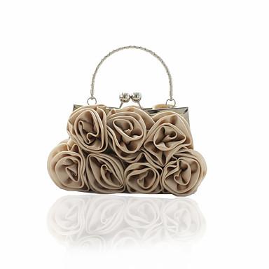 hesapli Çantalar-Kadın's Çiçekli Gece Çantası Düğün Çantaları Saten Siyah / YAKUT / Gümüş / Sonbahar Kış