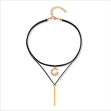 Women's Choker Necklace / Layered Necklace  -  Leather, Gold Plated Black Necklace For Casual, Office & Career