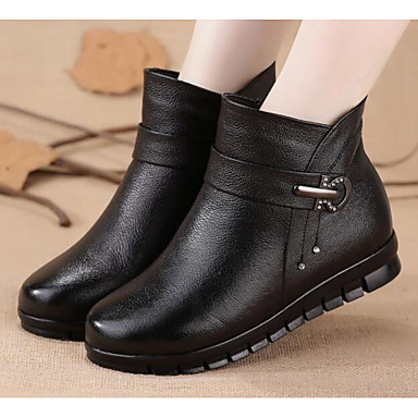 89c7f291c99 Women's Shoes Nappa Leather PU Winter Fashion Boots Fluff Lining Boots Flat  Heel Booties/Ankle
