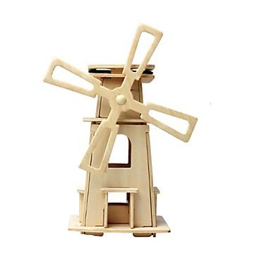 voordelige 3D-puzzels-RUOTAI 3D-puzzels Houten modellen Windmolen Op Zonne-Energie Puinen 1 pcs Kinderen Speeltjes Geschenk