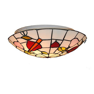 Diameter 30cm Tiffany Ceiling Light Glass Shade Living Room Bedroom Dining Room Flush Mount Kids Room Light Fixture