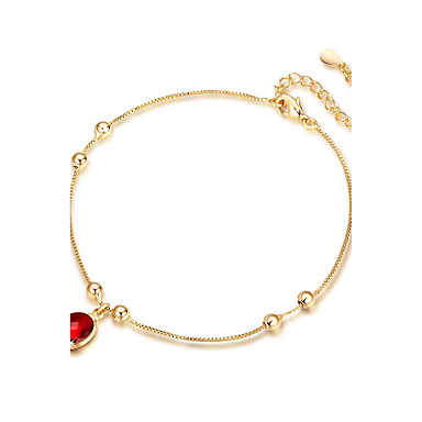 Synthetic Ruby Anklet - Sterling Silver, Gold Plated Bohemian, Boho Gold For Party / Engagement / Women's