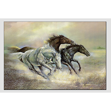 Oil Painting Hand Painted - Animals Comtemporary Canvas / Stretched Canvas