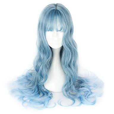 الحلوه لوليتا أزرق باروكات لوليتا 26 بوصة Cosplay الباروكات الشعر المستعار هالوين الباروكات