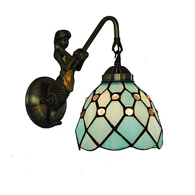 átmérő 15cm retro ország sellő tiffany fali lámpák üveg árnyékoló nappali hálószoba lámpatest