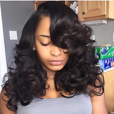Emberi haj Csipke eleje Paróka Brazil haj Mély hullám Paróka Réteges frizura / Tincselve 130% Természetes hajszálvonal / Fekete hölgyeknek / 100% Szűz Női Rövid / Közepes / Hosszú Emberi hajból