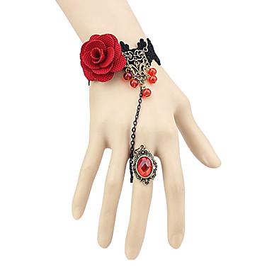 Schmuck Gothik Ring Vintage Inspirationen Damen Rot Lolita Accessoires Spitze Armband Ring Vließstoff Künstliche Edelsteine Aleación