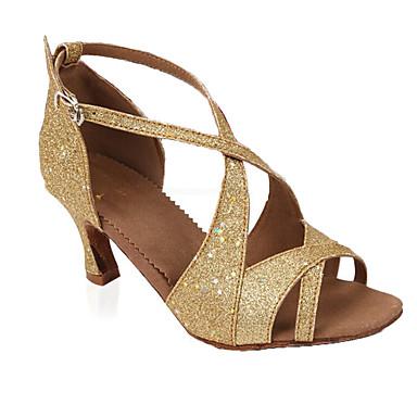 Női Latin cipők Glitter Glitter Személyre szabott sarok Személyre szabható Dance Shoes Arany / Otthoni / Bőr