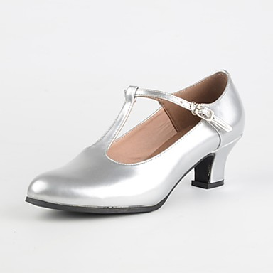 baratos Shall We® Sapatos de Dança-Mulheres Sapatos de Dança Couro Ecológico Sapatos de Dança Moderna Recortes Salto Personalizado Personalizável Dourado / Prata / Vermelho Escuro / Interior