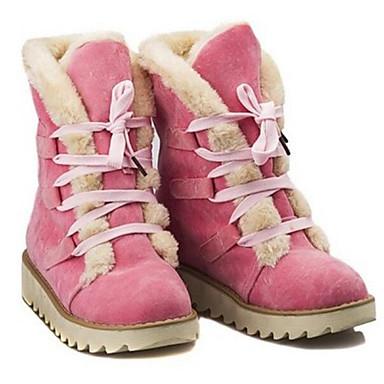 Marrón Amarillo de Cuero Mujer de Botas Invierno Rosa nieve Nobuck Botas Mitad Gemelo 06304452 Otoño 7T7WfPwqB