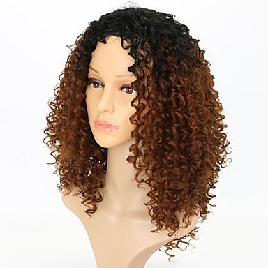 halpa Synteettiset peruukit ilmanmyssyä-Synteettiset peruukit Kihara Tyyli Otsatukalla Suojuksettomat Peruukki Ruskea Black / Medium Auburn Synteettiset hiukset Naisten Ruskea Peruukki Keskikokoinen Cosplay-peruukki / Liukuvärjätyt hiukset
